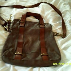 Fossil Maddox Taupe Leather Convertible Crossbody